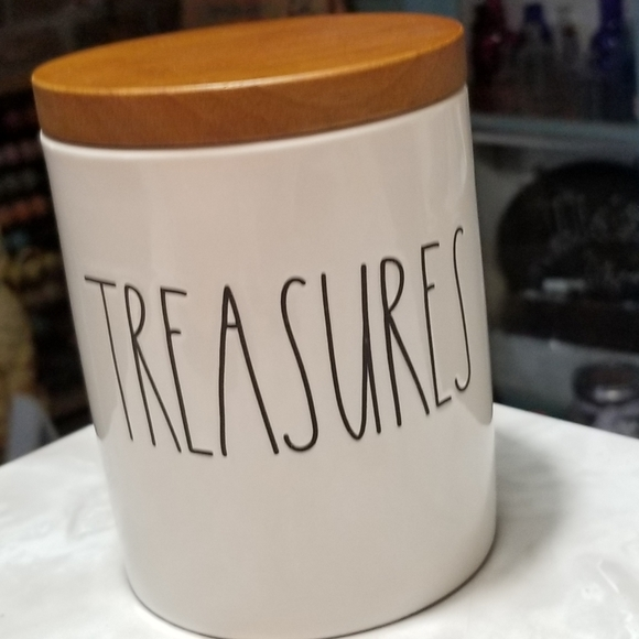Rae Dunn Treasures cellar canister wood lid